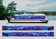 Wrapping Pontoon Replacement Graphics Kit Decal Stickers Boats Speed Shapes Blue