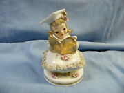 Vintage Lefton Betty Co-ed Spaghetti Angel Holding Gold Diploma And Trim 8088