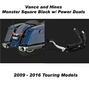 Vance And Hines Touring Monster Square Slip-ons W/ Black Power Duals 09-16 Touring