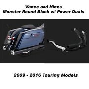 Vance And Hines Touring Monster Round Slip-ons Black Power Duals 09-16 Touring
