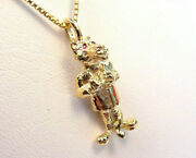 Big Bad Wolf 14k Gold Pendant With Ruby Eyes And 14k Gold Chain