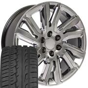 Oew 22x9 Wheels And Tires Fit Chevy Gm High Country Hyper Black W/ Chrome Imove