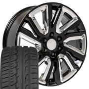 Oew 22x9 Wheels And Tires Fit Chevy Gm High Country Black W/chrome Imove