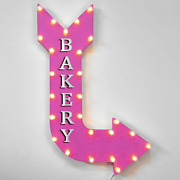 36 Bakery Curved Arrow Sign Light Up Metal Marquee Vintage Baked Goods Bread
