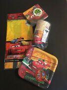 Disney Cars Birthday Party Lot Paper Plates Cups Napkins Table Cover Serves 8