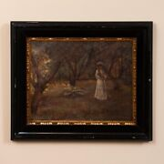 Original Antique Oil Painting Of Victorian Woman Playing Croquet