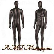 Male Full Body Black High End Mannequins+metal Stand Removable Egg Head