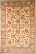Palace All-over Floral Light Gold/ Coral Mahal Hand-knotted Rug Oriental 11'x17'