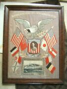 Antique Japanese Silk Embroidery Navy Memorabilia Eage Flags And Boat