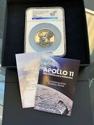 1969-2019 Apollo 11 50th Robbins Medal 5 Oz Silver With Alloy Ngc Ms70 With Box