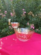 Vintage 1960 Georges Briard Gold Scroll Chip And Dip+toothpick Holder Set Rare