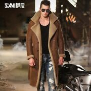 Menand039s Real Fur Jacket Coat Leather Overcoat Mid Long Slim Belt Double Breasted