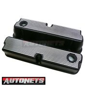 Sbf Ford 289 302 351w 5.0l Aluminum Black Finned Valve Cover Mustang Small Block