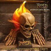 Ghost Rider Nicolas Cage Skull Latex Mask Day Of The Dead Skull And Gloves