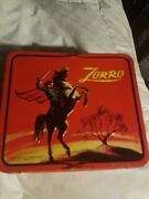 Vintage 1966 Zorro Metal Lunchbox No Thermos By Aladdin Very Nice Cond. Red
