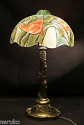 Floral Designed And Reverse Painted Pairpoint Glass Lamp W/ Super Great Base