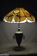 Antique Wonderfully Designed Leaded Stained Slag Glass Lamp W/classical Base