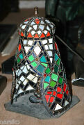 Leaded Stained Glass W/jewels Austrian Tent Lamp Warab Man Inside Playing A Lute