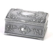 Antique Silver Jewelry Ring Treasure Chest Display Storage Cabinet Box Case