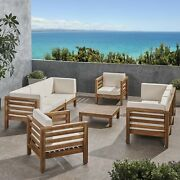 Emma Outdoor 8 Seater Acacia Wood Sofa And Club Chair Set