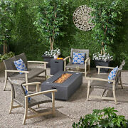 Augusta Outdoor 6 Piece Wood And Wicker Chat Set With Fire Pit