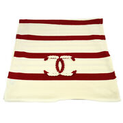 Cc Muffler Stole White Red Wool Silk Cashmere Vintage Authentic Y04122e