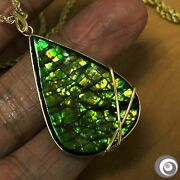 Striking 24.5 X 36.0mm Ammolite Pendant Necklace, Solid 18k Yellow Gold P4952