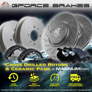 F Drilled Rotors Pads And R Drums Shoes For 2012-2019 Toyota Prius C W/ Rear Drum