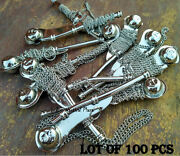 Lot Of 100 Pcs Bosun Whistle Necklace Key Chain Brass Silver Finish Vintage Gift