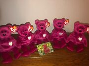 5 Ty Beanie Babies Valentina Bear - Retired With Club Card And Misspelling