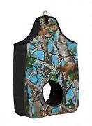 Teal Camo Print Open Front And Back Nylon Horse Hay Bag Stall And Trailer