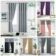 Crushed Velvet Band Curtains Pair Eyelet Faux Silk Fully Lined Ring Top Uk Sizes