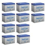 Power-sonic 12v 12ah Sla Battery Replaces Wagan 2464 Powerdome Lt Jump - 10 Pack