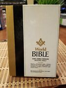 Vintage Worl Bible Masonic Edition M159 Blue King James Version By H. L. Haywood