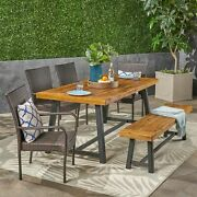 Nash Outdoor 6 Piece Dining Set With Wicker Chairs And Bench Sandblast Teak And