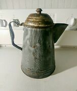 Antique Gray Graniteware Coffee Pot With Attached Hinged Lid 10 Tall 7 Bottom