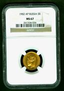 1902 Russian Impire Gold Coin 5 Rouble Ruble Roubles Ngc Ms67 Russia 261334-026