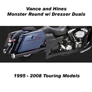 Vance And Hines Touring Monster Round Slip-ons Black Dresser Duals 95-08 Touring