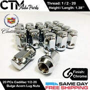 20pc Chrome 1/2-20 Wheel Lug Nuts Conical Seat For Cadillac 1959-1970 Deville