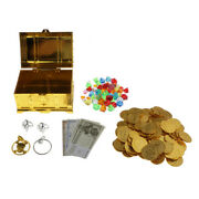 Treasure Chest Box Toy Plastic Gold Coins Pirate With Jewelry Gems Toys