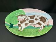 Bellini Of Italy Pottery Serving Platter Hand Painted Cow 18 X 13 1/2
