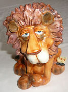Ceramic Lion Coin Bank Signed On The Bottom. Coin Slot On Back Bottom Opens