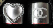 Authentic Cc Logo Ring Heart Love Silver Crystal New Sold Out 2 Sides