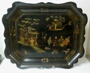Early 19th C. Black Lacquer Chinoiserie Decorated 23.75 Tray - Stunning