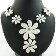 Gorgeous Flower White Oyster Mother Of Pearl Shell Black Rope Necklace