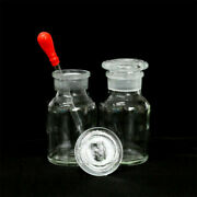 125ml Reagent Bottle Wide Mouth Ground Glass Stopper Transparent W/ Dropper