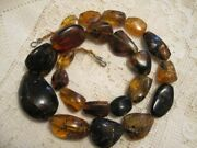 Vtg Large Red Amber Chunks Necklace 27 Dark Cognac Gold Nuggets Chiapas Mexico