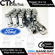 24pc Ford Chrome Conical Seat 14x1.5 Wheel Lug Nuts Bulge Acorn For Ford Models