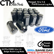 24pc Ford Black Conical Seat 14x1.5 Wheel Lug Nuts Bulge Acorn For Ford Models