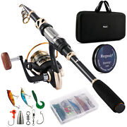 Magreel Telescopic Fishing Rod And Reel Combo Full Kit Spinning Reel Gear Pole Set